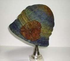 Felt Hat Brown Green Bronze Turquoise Blue Winter Fall Autumn Fashion. $75.00, via Etsy.