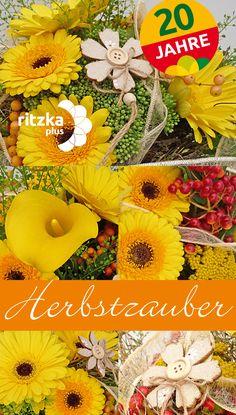 """Blumengroßhandel Ritzka: Blumenstrauß """"Herbstzauber"""" Mit warmen Gelbtönen und Akzenten roter Beerenfrüchte möchte unser Jubiläumsstrauß """"Herbstzauber"""" die Lust auf herbstliche Floristik wecken."""