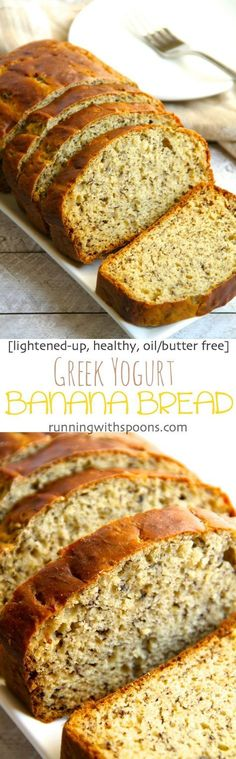 Greek Yogurt Banana Bread -- so soft and tender that you'd never be able to tell it's made without butter or oil! DELICIOUS! || runningwithspoons.com