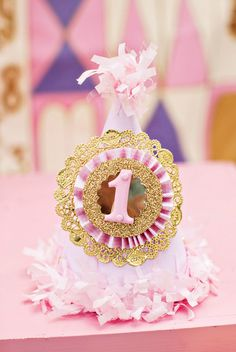 pink gold party hat