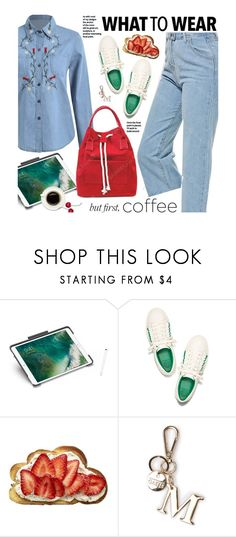 """Caffeine Fix: Coffee Break"" by beebeely-look ❤ liked on Polyvore featuring Logitech, Tory Burch, casual, Denimondenim, sammydress, coffeebreak and DenimStyle"