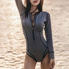 Round Neck Zips Contrast Stitching Plain One Piece Source by alepiedrasanta beachwear Swimsuits, Pullover Shirt, Floral Print Maxi Dress, Push Up Bikini, Bikini Tops, One Piece Swimwear, One Piece Swimsuit With Shorts, Bathing Suits, Fashion Clothes