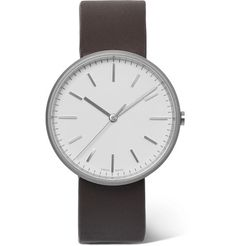 Uniform Wares - PreciDrive Stainless Steel and Leather Watch - Men - White Mens Watches Leather, Watches For Men, Uniform Wares, Dark Brown Leather, Stainless Steel Case, Fashion Watches, Minimalist Design, Quartz, Glass Crystal