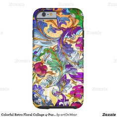 It's a cool iPhone 6 Case! This Colorful Retro Floral Collage Tint iPhone 6 Case is ready to be personalized or purchased as is. It's a perfect gift for you or your friends.
