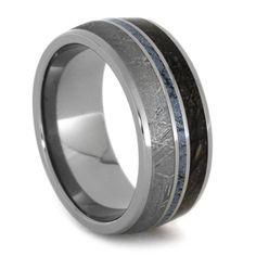 Mokume Gane Cobalt Ring with Dinosaur Bone and Meteorite in a Titanium Band, Cobaltium Mokume Ring