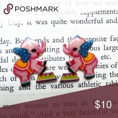 Vintage Circus Elephant Earrings Handmade Vintage circus elephant  earrings.   -Metal Posts -Nickel-Free -Plastic face   Price Firm  No Trades  Jewelry Earrings