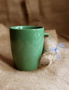 Cup handmade,ceramic mug,gift for him,clay,pottery,green,unisex,tribal,custom gift,tea cup,coffee cup,engraving,leaf,dinnerware,stoneware