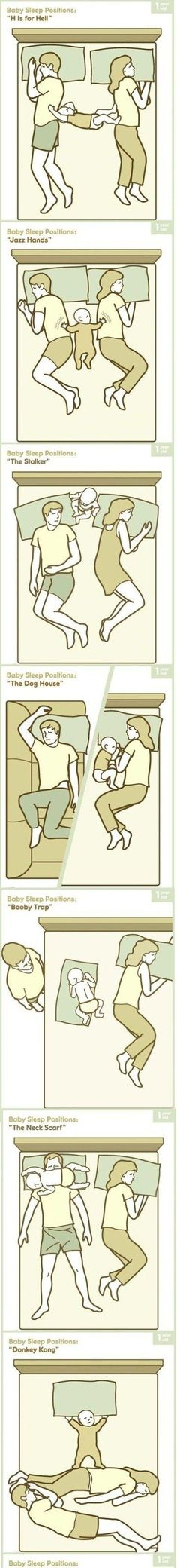 Baby sleep positions, for the bedsharing family! Pretty accurate. LOL #cosleeping #funny