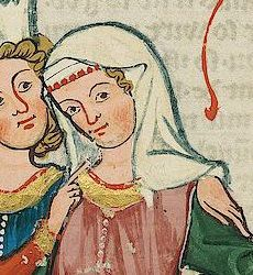 Codex Manesse : deorative fillet with veil. Note gold yolk and buttons on cyclas. Medieval Hats, Medieval Books, Medieval Costume, Medieval Fashion, Medieval Dress, Medieval Manuscript, Medieval Clothing, 14th Century Clothing, Renaissance Hairstyles