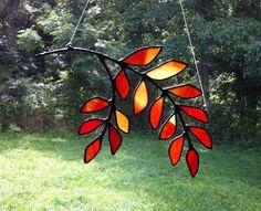 Colorful Fall Leaves Stained Glass Sun Catcher Hang different ways | GlassAct - Glass on ArtFire