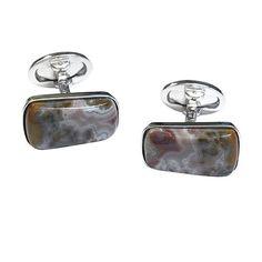 Apple Valley Agate Sterling Silver Cufflinks