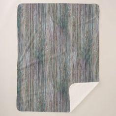 Weather-beaten Bamboo Wood Grain Look Sherpa Blanket - wood gifts ideas diy cyo natural