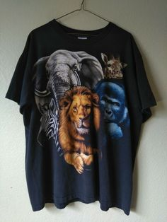 917c7e8e0c97 VINTAGE 1995 Single Stitch Made in USA Jungle Animal Graphic T Shirt Men's  XL #fashion #clothing #shoes #accessories #vintage #mensvintageclothing  (ebay ...