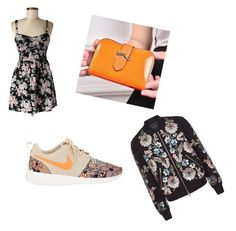 """Orange and black floral casual sporty"" by ninakrosell on Polyvore featuring Band of Gypsies, NIKE, Needle & Thread, Pennyshine, women's clothing, women's fashion, women, female, woman and misses"