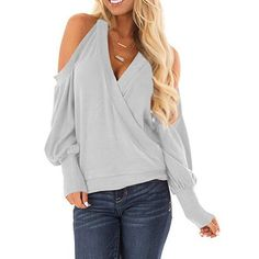 Yingkis Women's Cold Shoulder Tops Long Sleeve Deep V-Neck Wrap Front Blouse Loose Pullover,Light Grey S Look Fashion, Fashion Outfits, Womens Fashion, Fashion Tips, Casual Outfits, Cute Outfits, Sexy Blouse, Sexy Shirts, Blouses For Women