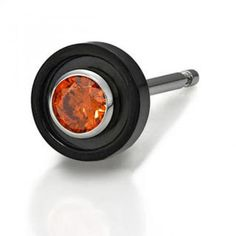 Orange Crystal Single Earring IP Black - One Size Orange Crystals, Rose Gold Pendant, 316l Stainless Steel, Fashion Accessories, Earrings, Hong Kong, Black, Color, Amp