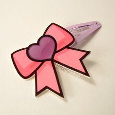 Cute Kawaii Hair Clip Hair Snap Anime Magical Girl Pink Bow Purple Heat. $4.00, via Etsy.