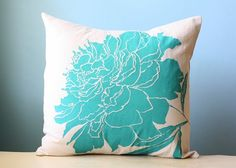 Turquoise Peony Linen Pillow Cover   BRIKA - A Well-Crafted Life