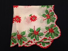 1950's Christmas Handkerchief Poinsettia Holly Hanky Vintage 1950's