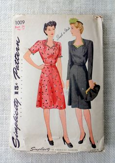 Simplicity 1009 pattern Bust 34 early by momandpopcultureshop