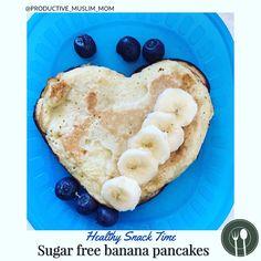 7 Likes, 3 Comments - Taskeen Jamal Karim 🧕🏽👧🏽👶🏽 Sugar Free Pancakes, Pancakes Easy, Healthy Meals For Kids, Kids Meals, Toddler Snacks, Afternoon Snacks, Kid Friendly Meals, Blueberries, Banana
