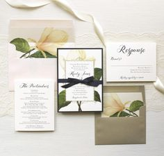 Sweet Magnolia Customizable Modern Wedding Invitations | Beacon Lane