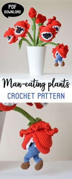 This amigurumi crochet pattern is absolutely hilarious! Place the finished plant in your living room and make your friends laugh as they enter the room! Use this Bouquet of Man-eating Plants Crochet Pattern to make home decor item for kids room, a hilarious toy or a fun housewarming gift for a friend. #ad #etsy #crochetpattern #amigurumi #crochet #amigurumipattern #patternsforcrochet #giftsforher