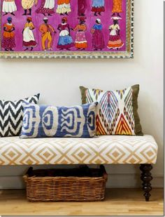 We love modern use of tribal prints #tribal threads #Aztec #thehomeaus
