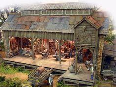 Brian Nolan Ullian's Machine Village House Design, Village Houses, Ho Trains, Model Trains, Ho Train Layouts, Ho Scale Buildings, Electric Train Sets, Garden Railroad, Minecraft City