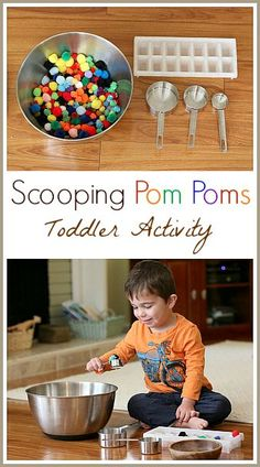Toddler Activities: Scooping Pom Poms - Buggy and Buddy - Toddler Activity: Scooping Pom Poms (Great opportunity to practice fine motor skills, color words, and basic math skills!) ~ Buggy and Buddy Toddler Play, Toddler Learning, Toddler Preschool, Toddler Crafts, Sensory Activities, Craft Activities For Kids, Infant Activities, Crafts For Kids, Quiet Toddler Activities