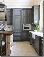 Cabinets. The most popular kitchen trend right now is to paint cabinets white or gray. In addition, consider an open cabinet with the back painted a different color, or an island painted a different color than the cabinets.