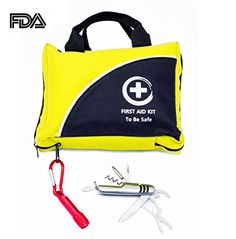 First Aid Kit w Only One With Flashlight and Multi-Use Knife -102 Piece- Emergency FDA Approved Glow in the Dark - Ideal Kits For Camping Sport Outdoor Car Home Travel Hiking Safety Survival *** Continue to the product at the image link.