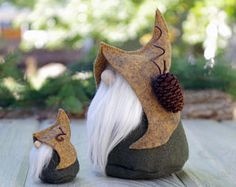 2 Nordic Gnomes, MINI and Large Gnome, Scandinavian Gnome, Nordic Gnome, Elf, Elves, Miniature Gnomes, Swedish, Christmas Gifts, Tomte