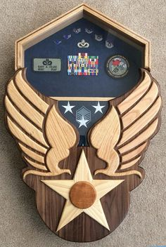 Air Force Shadow Box - Hap Arnold Wings - Handcrafted - Variety Natural Hardwoods