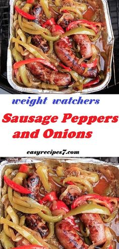 Sausage Peppers and Onions - Best Weight Watchers Recipes - Crock Pot Recipes, Skinny Recipes, Sausage Recipes, Easy Healthy Recipes, Pork Recipes, Healthy Cooking, Meat Recipes, Healthy Eating, Cooking Recipes