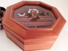 Jewelry Box Wooden Octagon Floral Glass Top Box Flip Top Ring Slots Compartment Storage Vintage 1980's Home Decor Gift for Her