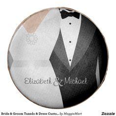 Bride & Groom Tuxedo & Dress Custom Name Wedding Chocolate Dipped Oreo