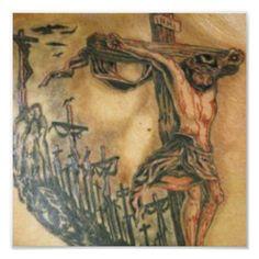 Jesus tattoo with many crosses Jesus Optical Illusion, Optical Illusion Tattoo, Optical Illusions, Tribal Tattoos, Tattoos Mandala, Body Art Tattoos, Men's Forearm Tattoos, Mens Tattoos, Tatoos