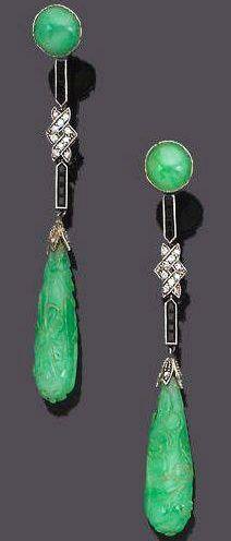 Art Déco - Pendants d'Oreilles - Platine, Diamants, Jade et Onyx