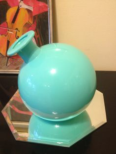 Mid Century Modern Turquoise Vase Vessel By Balos by modernlogic