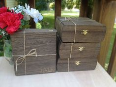 Groomsmen Gift - Keepsake Box - Set Of 8 Rustic Laser Engraved Cigar Boxes…