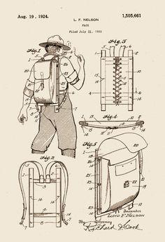 Trapper Nelson Packboard rucksack, 1924 U.S. Patent drawings