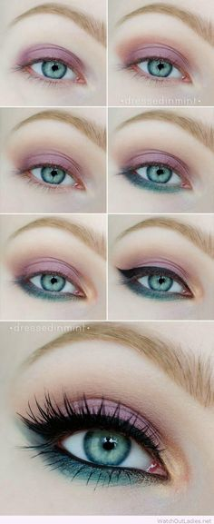 Pink and blue eye make-up tutorial