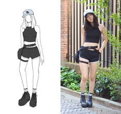 Yona L - Aliexpress Rose Baby Blue Cap, American Apparel Black Sleevless Crop Top, Amazon Black Military Fanny Pack, Forever21 Black Gym Shorts, Ebay Grid Socks, H&M Black Platform Boots - Tourist qt starter pack