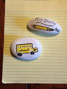 Painted rocks I made teacher bus driver, school bus driver, school bus, DIY, crafts, back to school, kindergarten, brown noser lol