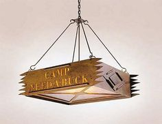 Customize this rustic chandelier with your Lake or Camp Name
