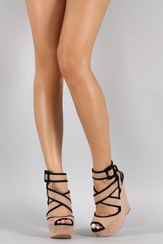 Qupid Simple Strappy Caged Wedge