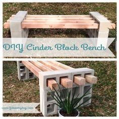 """DIY Cinder Block Bench project on www.fabeveryday.com. 12 cinder blocks and 4 4""""x4""""s make for a quick outdoor bench.  Coordinates with our DIY cinder block raised garden bed.  See full instructions for both on www.fabeveryday.com."""