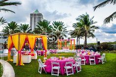 Suhaag Garden, Florida California Atlanta Indian wedding decorators, outdoors wedding decor, outdoors mehndi decor, neon decor, glitter, flameless candles, string lights, outdoor cabanas