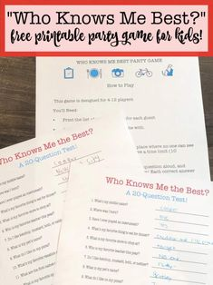 "This fun and free printable party game for kids is perfect for kids birthday parties! Everyone thinks that they know the birthday boy or girl best- but this ""Who Knows Me Best?"" game will show you just how much they know or don't know! Birthday Party At Home, Birthday Party Games For Kids, Birthday Activities, Party Activities, Birthday Party Themes, Birthday Ideas, Sleepover Party, 12th Birthday, Birthday Month"